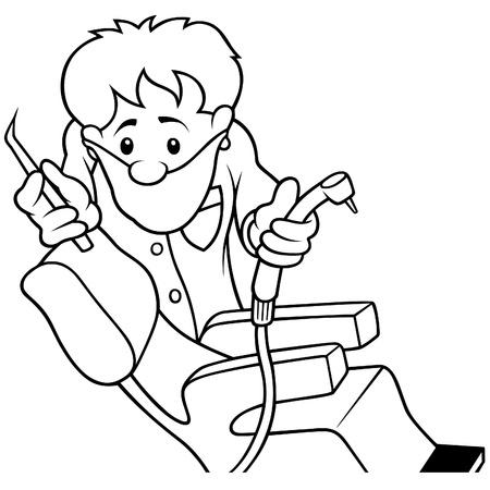 sillon dental: Dentista - ilustraci�n de dibujos animados de blanco y negro Vectores