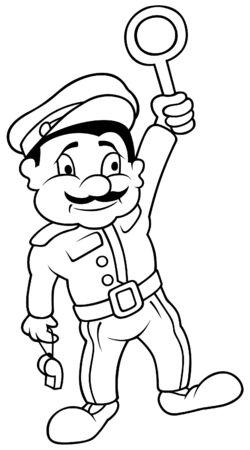 Train Dispatcher - Black and White Cartoon illustration Stock Vector - 8627791