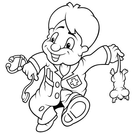 Veterinaria - ilustración de dibujos animados de blanco y negro Foto de archivo - 8627796