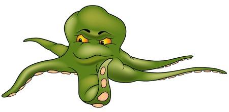 Green Octopus - colored cartoon illustration Vector