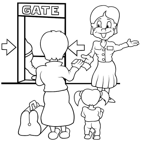 Airport Gate - Black and White Cartoon illustration Vector