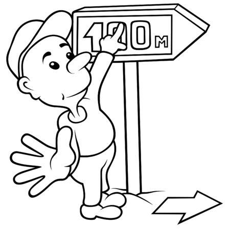 Boy and Dirrection Arrow - Black and White Cartoon illustration Stock Vector - 8627804