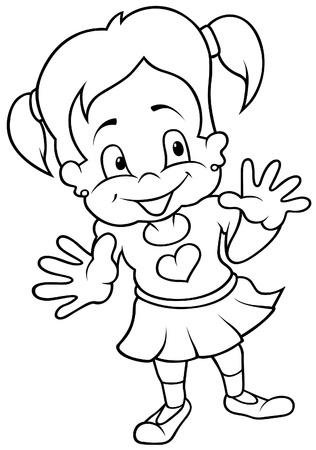 Smiling Girl - Black and White Cartoon illustration Stock Vector - 8627799