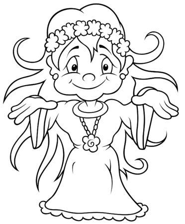 Fairy - Black and White Cartoon illustration Stock Vector - 8627803