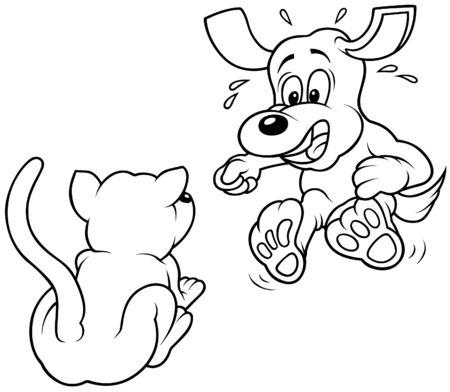 perro asustado: Perro aterrado - ilustraci�n de dibujos animados de blanco y negro