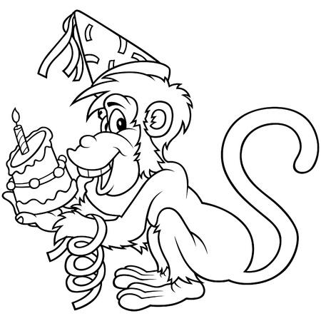 Monkey and Birthday Cake - Black and White Cartoon illustration Vector