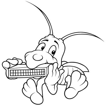 Grasshopper and Harmonica - Black and White Cartoon illustration Stock Vector - 8627842