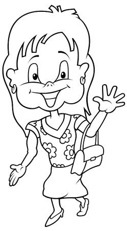 Girl in Summer Dress - Black and White Cartoon illustration Stock Vector - 8627838