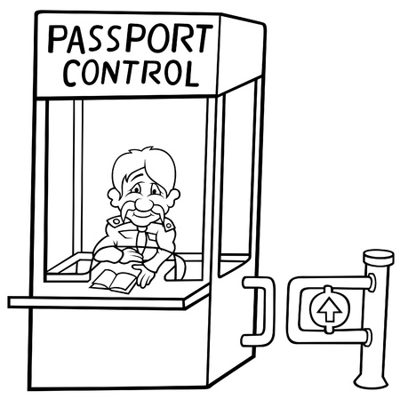 airport customs: Passport Control - Black and White Cartoon illustration Illustration