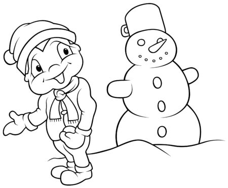 Boy and Snowman - Black and White Cartoon illustration Vector