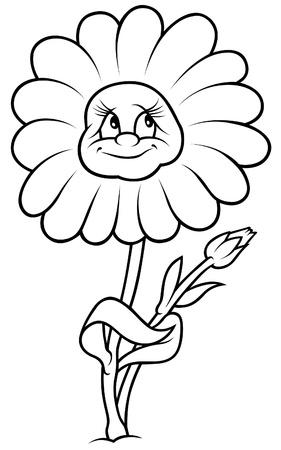 Daisy Flower - Black and White Cartoon illustration Stock Vector - 8627862