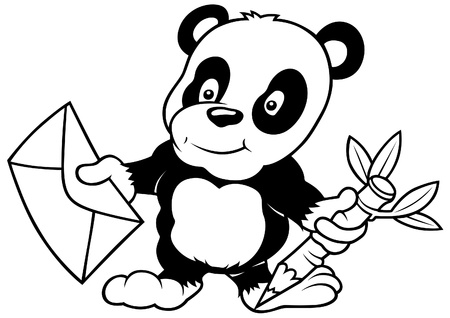 Panda and Letter - Black and White Cartoon illustration, Vector Vector