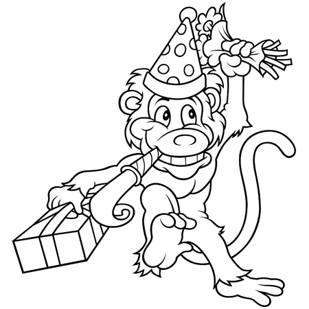 Monkey and Birthday Party - Black and White Cartoon illustration, Vector Stock Vector - 8663610