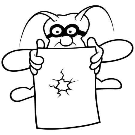 Bug and Paper - Black and White Cartoon illustration, Vector Stock Vector - 8663609