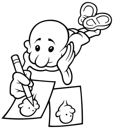 copying: Character Copying - Black and White Cartoon illustration, Vector