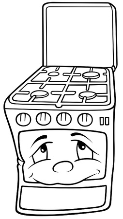 gas cooker: Gas Stove - Black and White Cartoon illustration, Vector Illustration