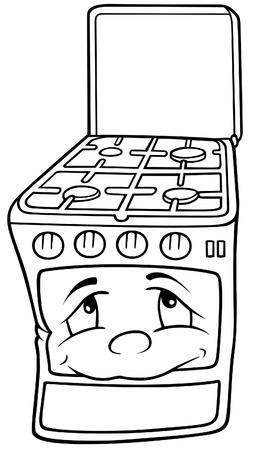 Poêle à gaz - noir et blanc Cartoon illustration, vecteur