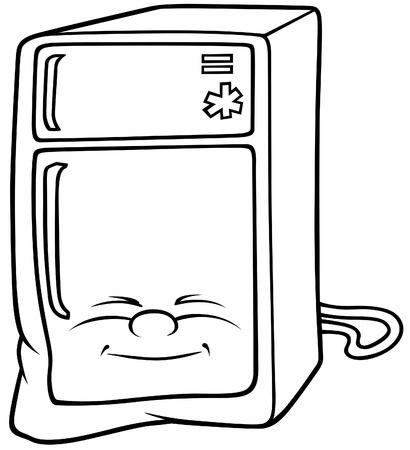 Refrigerator - Black and White Cartoon illustration, Vector