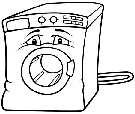 laundry washer: Lavadora - ilustraci�n de dibujos animados de blanco y negro, Vector