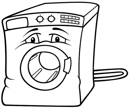 black appliances: Washing Machine - Black and White Cartoon illustration, Vector