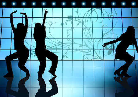 Dancing Girls On a Blue Background - Colored illustration, Vector