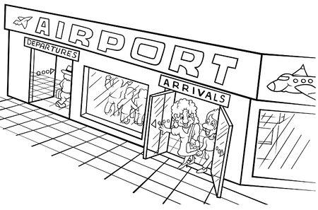 Airport - Black and White Cartoon illustration, Vector Stock Vector - 8669848