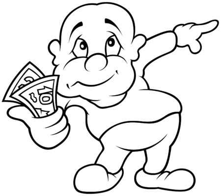 Character with Money - Black and White Cartoon illustration, Vector Vector