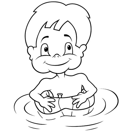 swiming: Boy and Inflatable Swim Ring - Black and White illustration, Vector