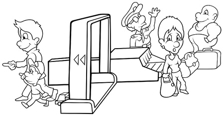 airport security: Security - Black and White Cartoon illustration, Vector Illustration