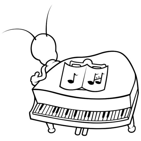 Bug and Piano - Black and White Cartoon illustration, Vector Vector