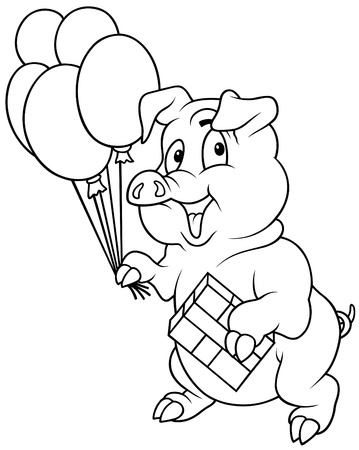 gratulation: Standing Piglet and Balloons - Black and White illustration, Vector
