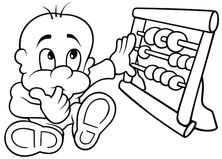 abacus: Baby and Abacus - Black and White Cartoon illustration, Vector