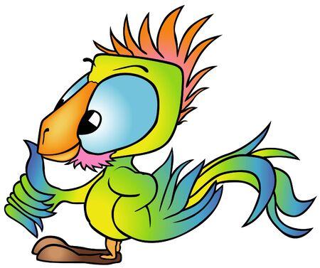 guacamaya caricatura: Loro multicolor - ilustraci�n de color de dibujos animados, vector