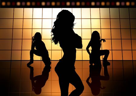 Dancing Girls - Colored Background illustration, Vector Stock Vector - 8669852