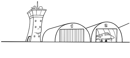 Airport Hangar - Black and White Cartoon illustration, Vector Vector