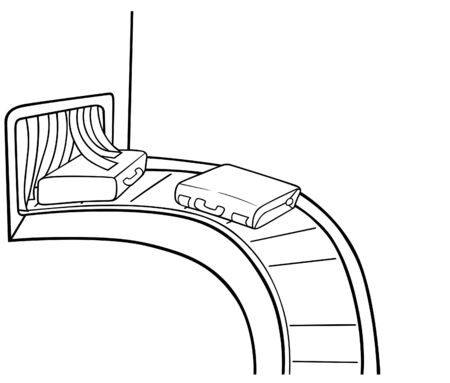 luggage: Baggage Claim - Black and White Cartoon illustration, Vector
