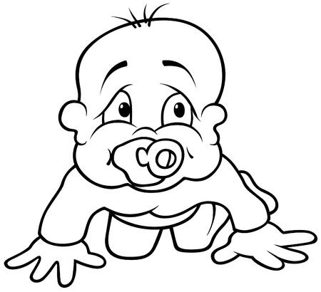 Baby Toddling - schwarz und weiß Karikatur Illustration, Vektor