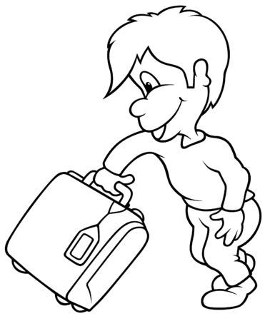 Boy and Travel Case - Black and White Cartoon illustration, Vector Stock Vector - 8669855