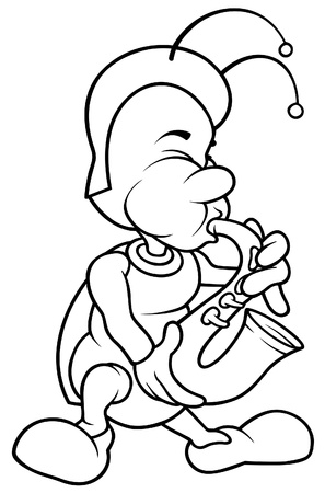 cartoon wind: Bug and Saxophone - Black and White Cartoon illustration, Vector Illustration