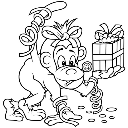 primate: Monkey and Gift - Black and White Cartoon illustration, Vector