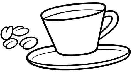 cup and saucer: Coffee Cup - Black and White Cartoon illustration, Vector Illustration