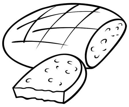 foodstuff: Loaf of Bread - Black and White Cartoon illustration, Vector