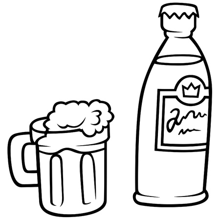 Glass of Beer and Bottle- Black and White Cartoon illustration, Vector Vector