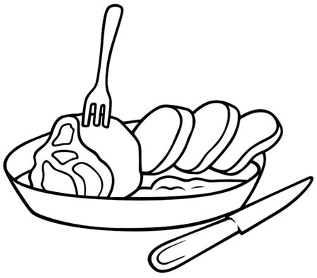plate of food: Square meal - Black and White Cartoon illustration, Vector
