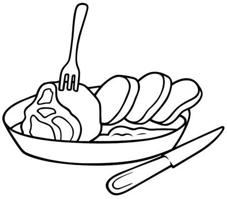 viande couteau: Square repas - illustration de dessin anim� noir et blanc, vecteur