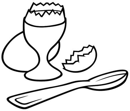 eggcup: Eggcup - Black and White Cartoon illustration, Vector Illustration