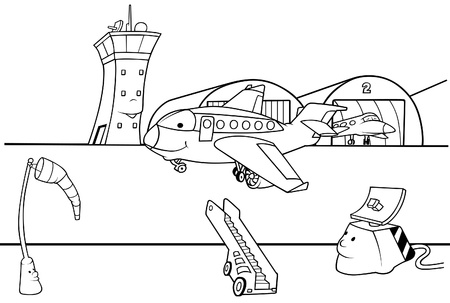 airways: Airport Runway - Black and White Cartoon illustration, Vector