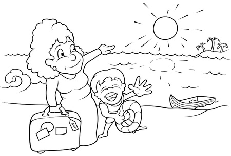 Family Holiday - Black and White Cartoon illustration, Vector Vector