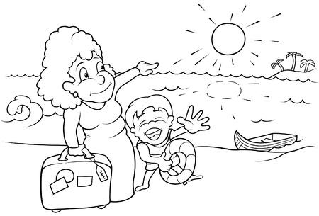 Vacanze in famiglia - bianco e nero fumetto illustrazione vettoriale