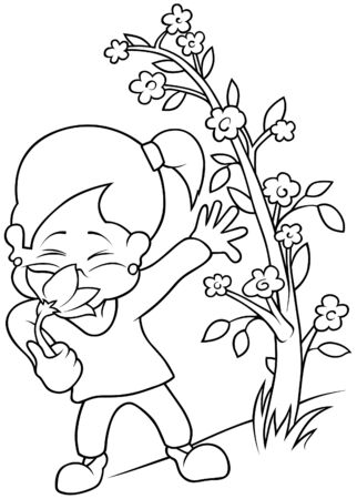 Girl with Flower - Black and White Cartoon illustration, Vector Stock Vector - 8756004